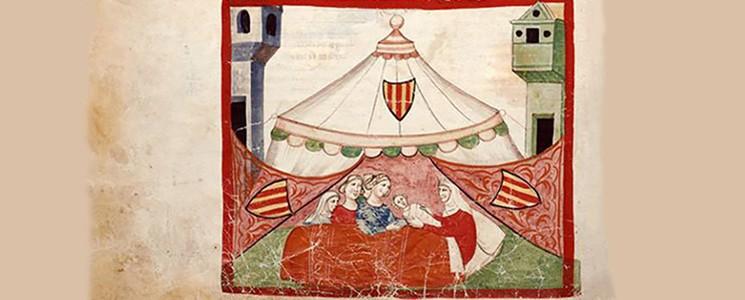 """Federico II nasce a Jesi sotto una tenda attrezzata, collocata nella piazza principale della città marchigiana. Immagine tratta dalla """"Cronica figurata di Giovanni Villani""""."""