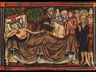 Federico II ammalato e la sua corte è al suo capezzale, da un miniatura medievale.