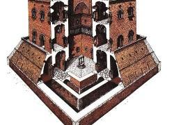 Una recente ricostruzione del palazzo federiciano di Lucera fatta su ispirazione dei disegni di C. A. Willemsen