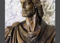 Busto di re Manfredi, realizzato dallo scultore Daro Lazarov, Manfredonia scalinata del comune.